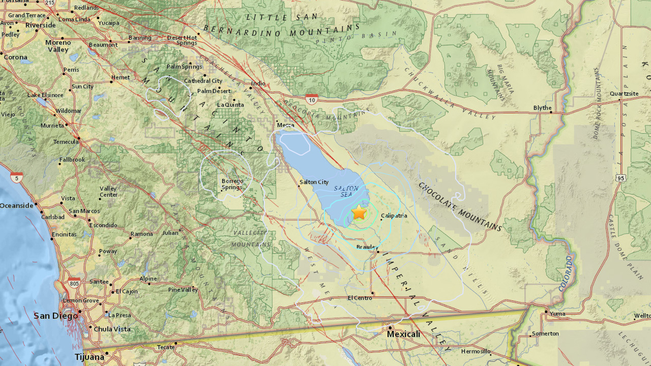 A 4.1-magnitude earthquake struck seven miles west northwest of Calipatria Wednesday, May 20, 2015.