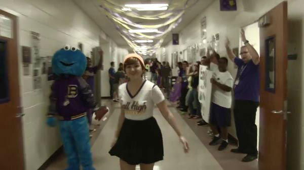 """<div class=""""meta image-caption""""><div class=""""origin-logo origin-image none""""><span>none</span></div><span class=""""caption-text"""">Nearly the entire student body made an appearance in the video which highlights all of the school's sports teams, clubs and academic departments.</span></div>"""