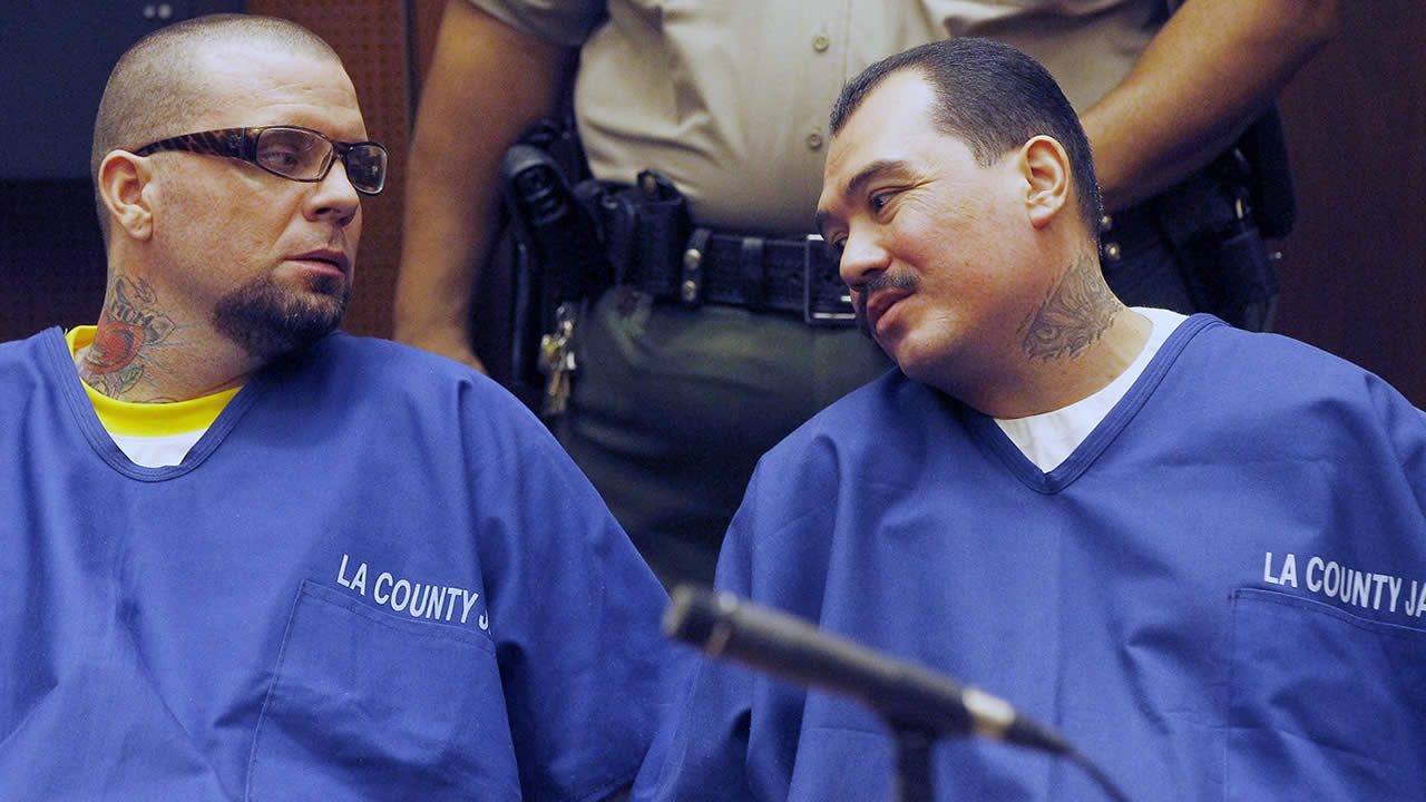 In this Feb. 20, 2014 file photo, defendants Marvin Norwood, left, and Louie Sanchez appear during a hearing in Los Angeles. (AP Photo/Nick Ut, File )