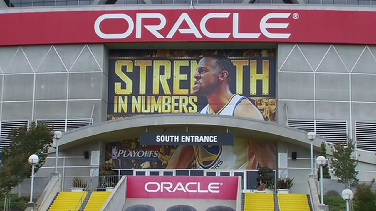 "Oakland's Oracle Arena displays the Warriors' ""Strength in Numbers"" slogan on Thursday, May 21, 2015."