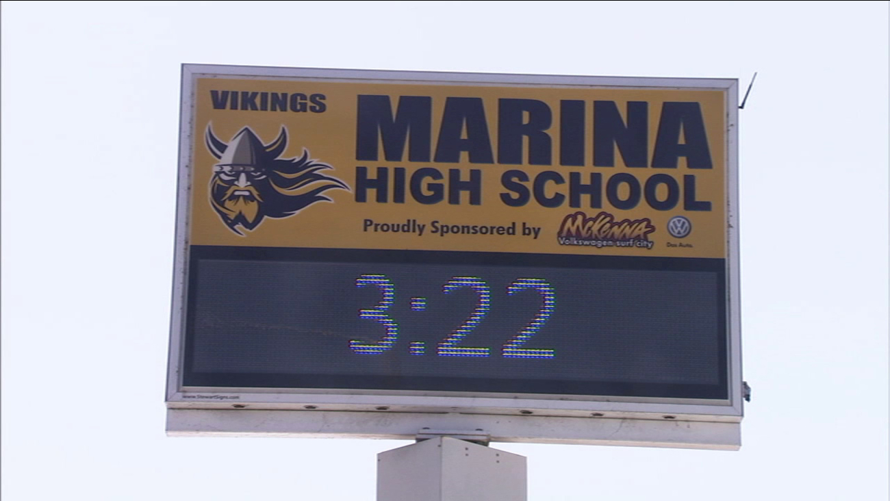 A sign outside Marina High School is seen in this file photo.