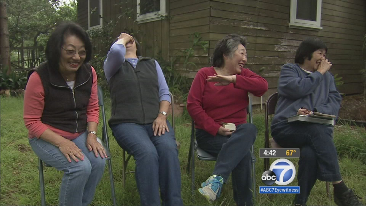 The Yuge sisters are seen in front of their Altadena home in May 2015.