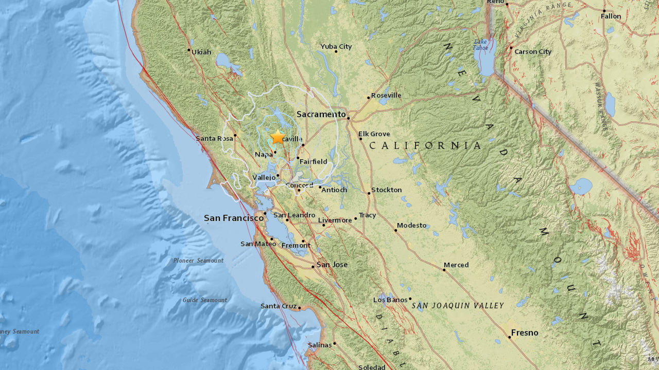 A 4.1-magnitude earthquake struck nine miles north of Napa Thursday, May 21, 2015.
