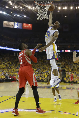 """<div class=""""meta image-caption""""><div class=""""origin-logo origin-image none""""><span>none</span></div><span class=""""caption-text"""">Golden State Warriors forward Andre Iguodala (9) dunks against Houston Rockets center Dwight Howard (12) during the first half of Game 2 of the Western Conference finals. (AP Photo/Tony Avelar)</span></div>"""