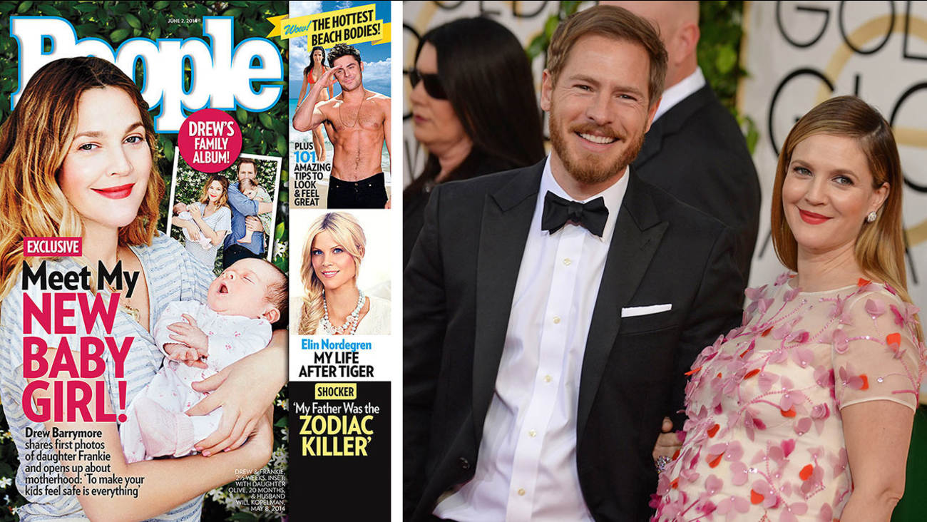 Drew Barrymore appears with baby Frankie on People cover