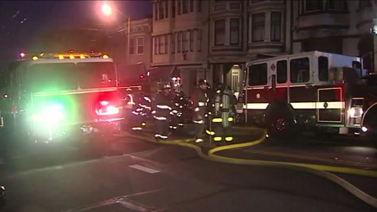 A fire broke out just before 5 a.m. on Saturday, May 23, 2015 at a residential building in San Francisco's Inner Richmond neighborhood.