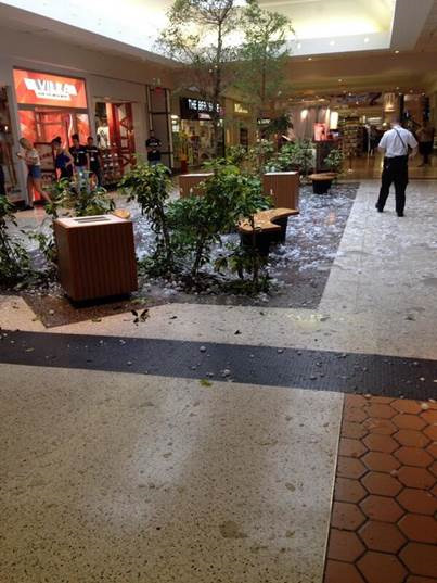 """<div class=""""meta image-caption""""><div class=""""origin-logo origin-image """"><span></span></div><span class=""""caption-text"""">Deena Weise tweeted this photo of hail damaging the skylight at the Berkshire Mall in Wyomissing, Pa. on May 22, 2014.</span></div>"""