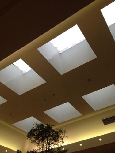 """<div class=""""meta image-caption""""><div class=""""origin-logo origin-image """"><span></span></div><span class=""""caption-text"""">WFMZ posted this photo of hail damaging the skylight at the Berkshire Mall in Wyomissing, Pa. on May 22, 2014.</span></div>"""
