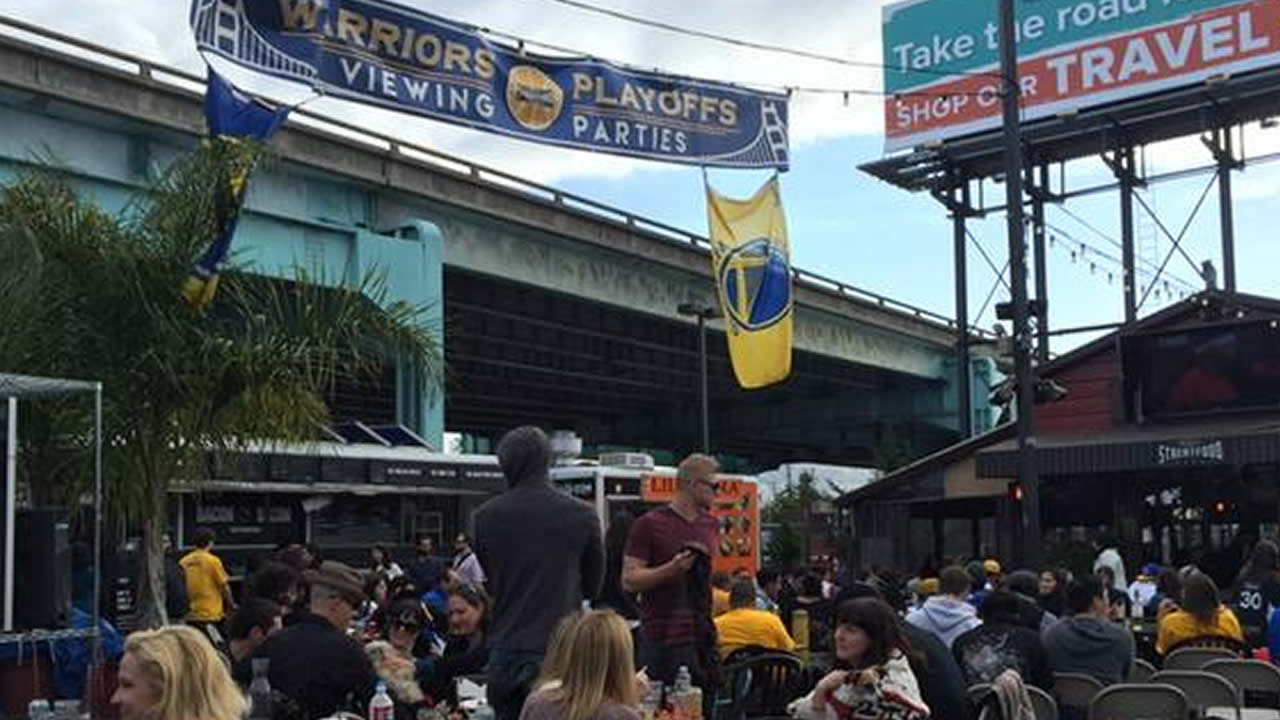 Golden State Warriors fans gathered at San Francisco's SoMa StrEat Food Park to watch Game 3 of the Western Conference finals against the Houston Rockets on May 24, 2015.
