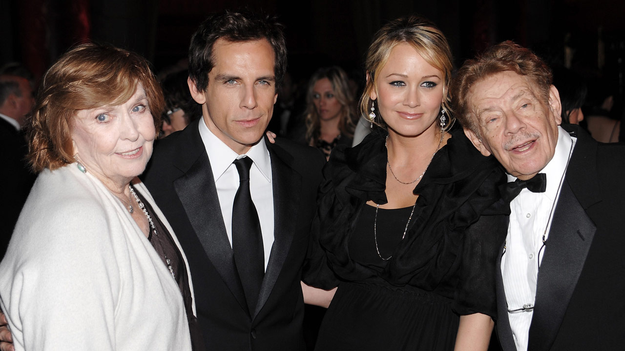 Ben Stiller, left center, poses with, from left, his mother Anne Meara, his wife Christine Taylor and his father Jerry Stiller on Tuesday, Nov. 12, 2008 in New York.