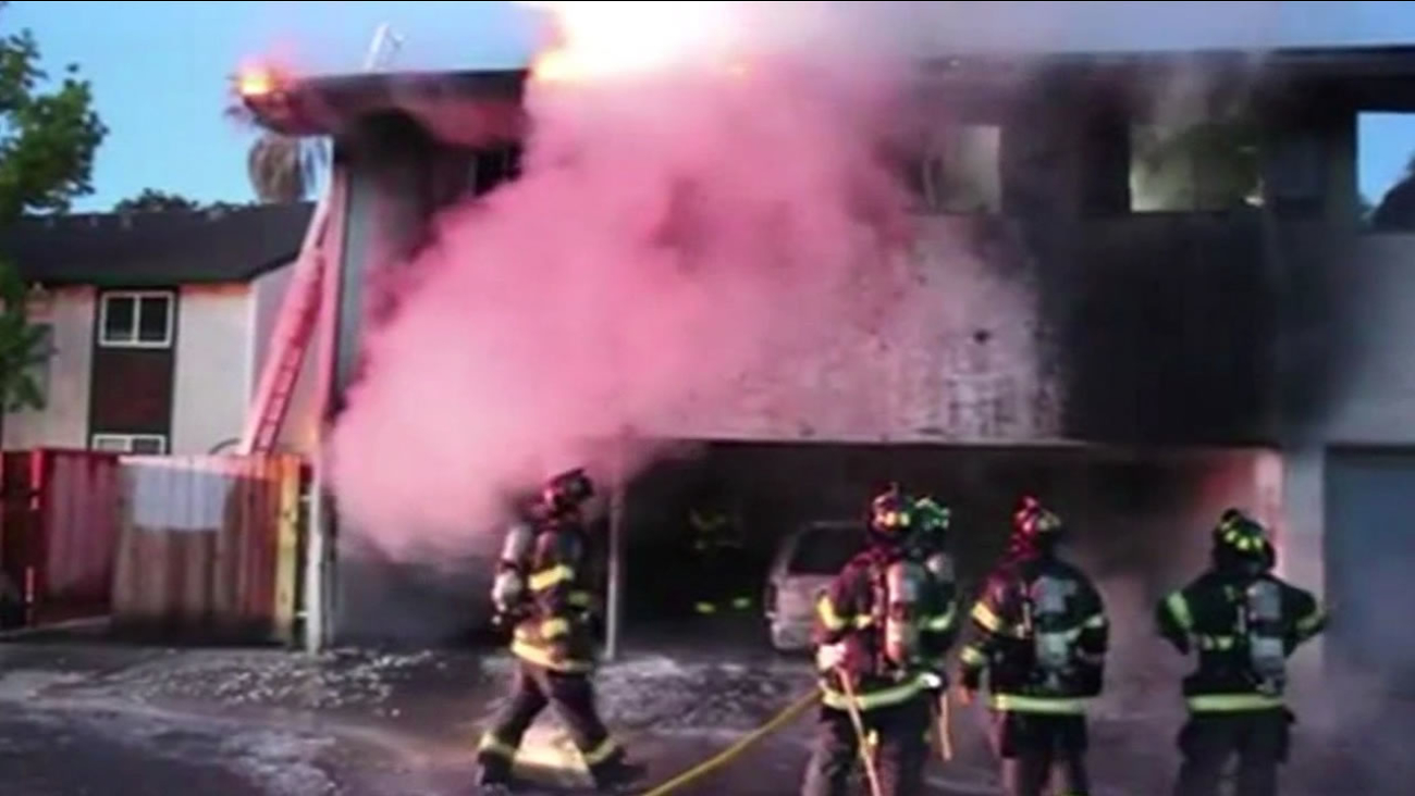 A two-alarm fire displaced at least 12 people at an apartment building in San Jose Sunday, May 24, 2015.