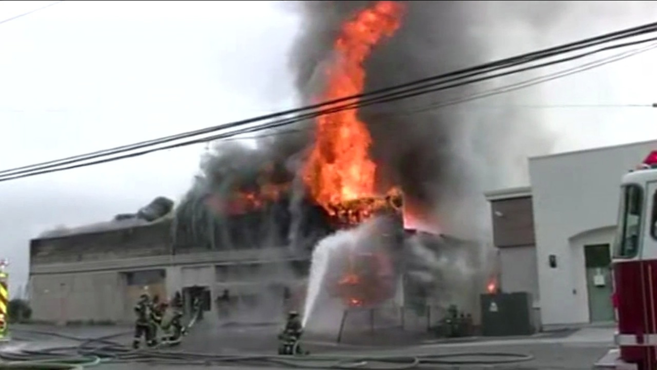 Crews extinguished a two-alarm fire that spread throughout a vacant commercial building on Sacramento Street in Vallejo on Sunday, May 24, 2015.