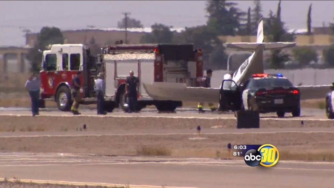 Small plane ends up with nose on ground at Fresno's Chandler Airport