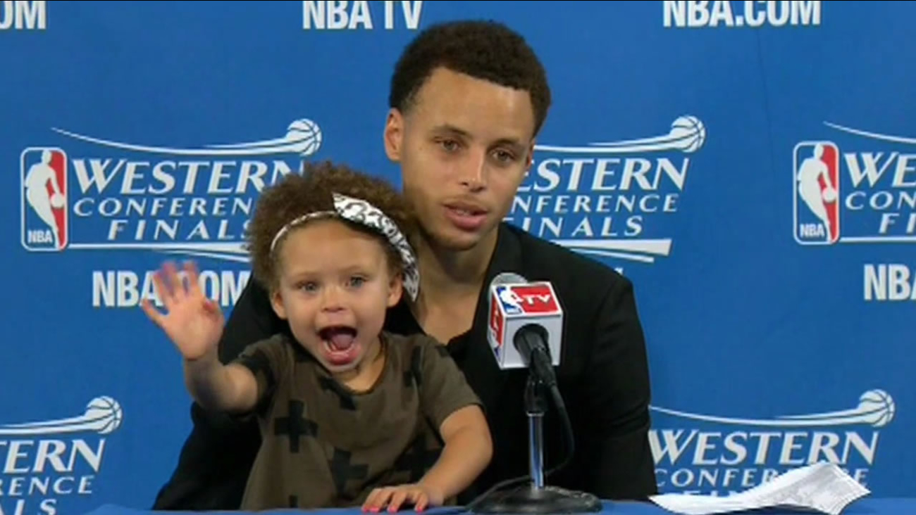 Golden State Warriors guard Steph Curry brought his 2-year-old daughter Riley to a press conference in Oakland, Calif. on May 19, 2015.
