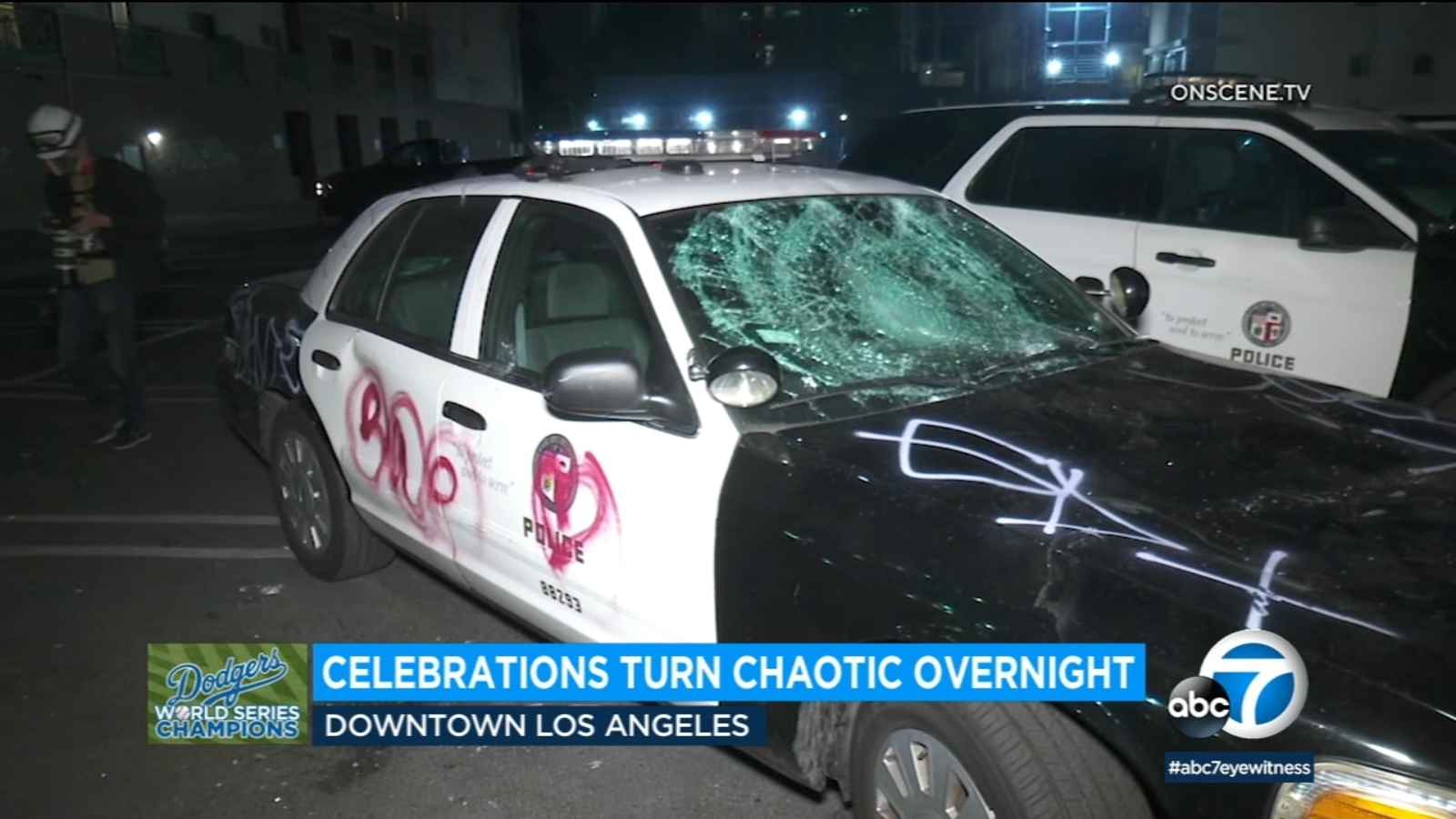 Dodgers celebrations after World Series victory turn unruly, violent in downtown Los Angeles; 8 arrested amid looting, vandalism - KABC-TV
