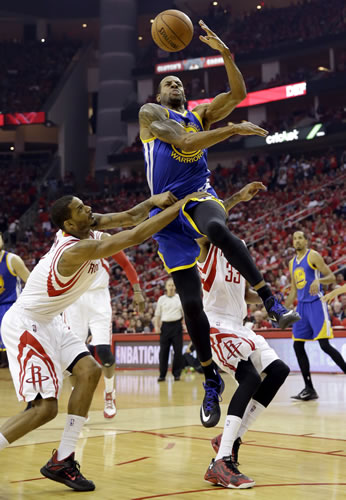 """<div class=""""meta image-caption""""><div class=""""origin-logo origin-image none""""><span>none</span></div><span class=""""caption-text"""">Golden State Warriors guard Andre Iguodala (9) is fouled by Houston Rockets forward Trevor Ariza (1) during the first half in Game 4 of the Western Conference finals in Houston. (AP Photo/David J. Phillip)</span></div>"""