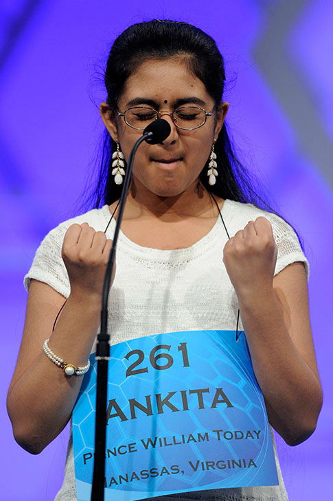 "<div class=""meta image-caption""><div class=""origin-logo origin-image none""><span>none</span></div><span class=""caption-text"">Ankita Vadiala, 13, celebrates after correctly spelling the word ""geta"" during the 2015 Scripps National Spelling Bee in Oxon Hill, Md., May 27, 2015. (Photo/AP)</span></div>"