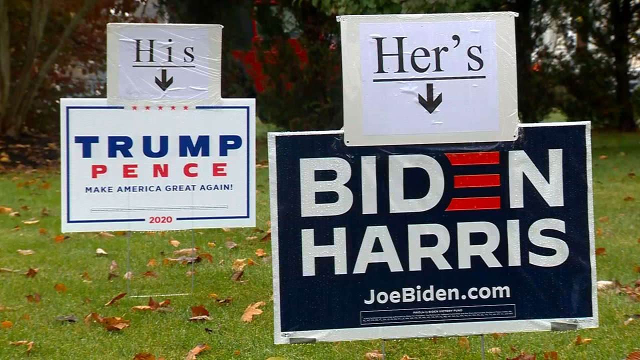 Married Massachusetts Couple Has Dueling His And Hers Presidential Election Yard Signs Abc7 New York