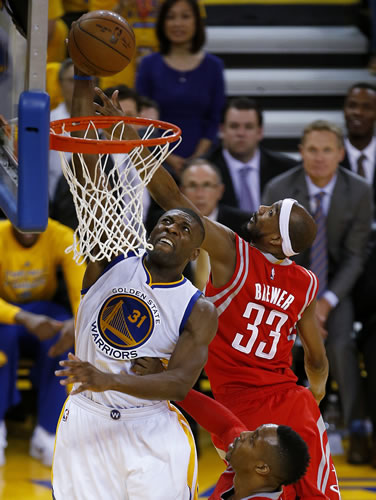 """<div class=""""meta image-caption""""><div class=""""origin-logo origin-image ap""""><span>AP</span></div><span class=""""caption-text"""">Golden State Warriors center Festus Ezeli (31) dunks against Houston Rockets guard Corey Brewer (33) during the first half of Game 5 of the NBA basketball Western Conference finals (AP Photo/Tony Avelar)</span></div>"""