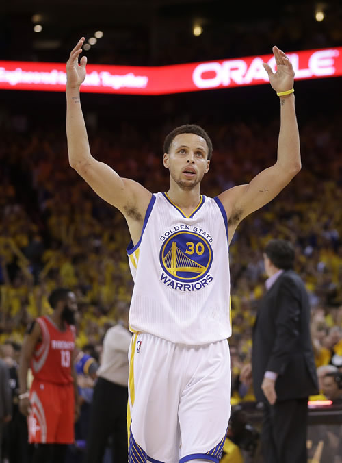 """<div class=""""meta image-caption""""><div class=""""origin-logo origin-image ap""""><span>AP</span></div><span class=""""caption-text"""">Golden State Warriors guard Stephen Curry (30) reacts during the second half of Game 5 of the NBA basketball Western Conference finals against the Houston Rockets in Oakland. (AP Photo/Tony Avelar)</span></div>"""
