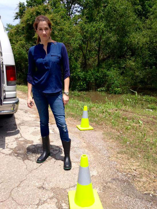 """<div class=""""meta image-caption""""><div class=""""origin-logo origin-image none""""><span>none</span></div><span class=""""caption-text"""">Natasha found a gator in flood waters and put up these cones to deter it (KTRK Photo)</span></div>"""