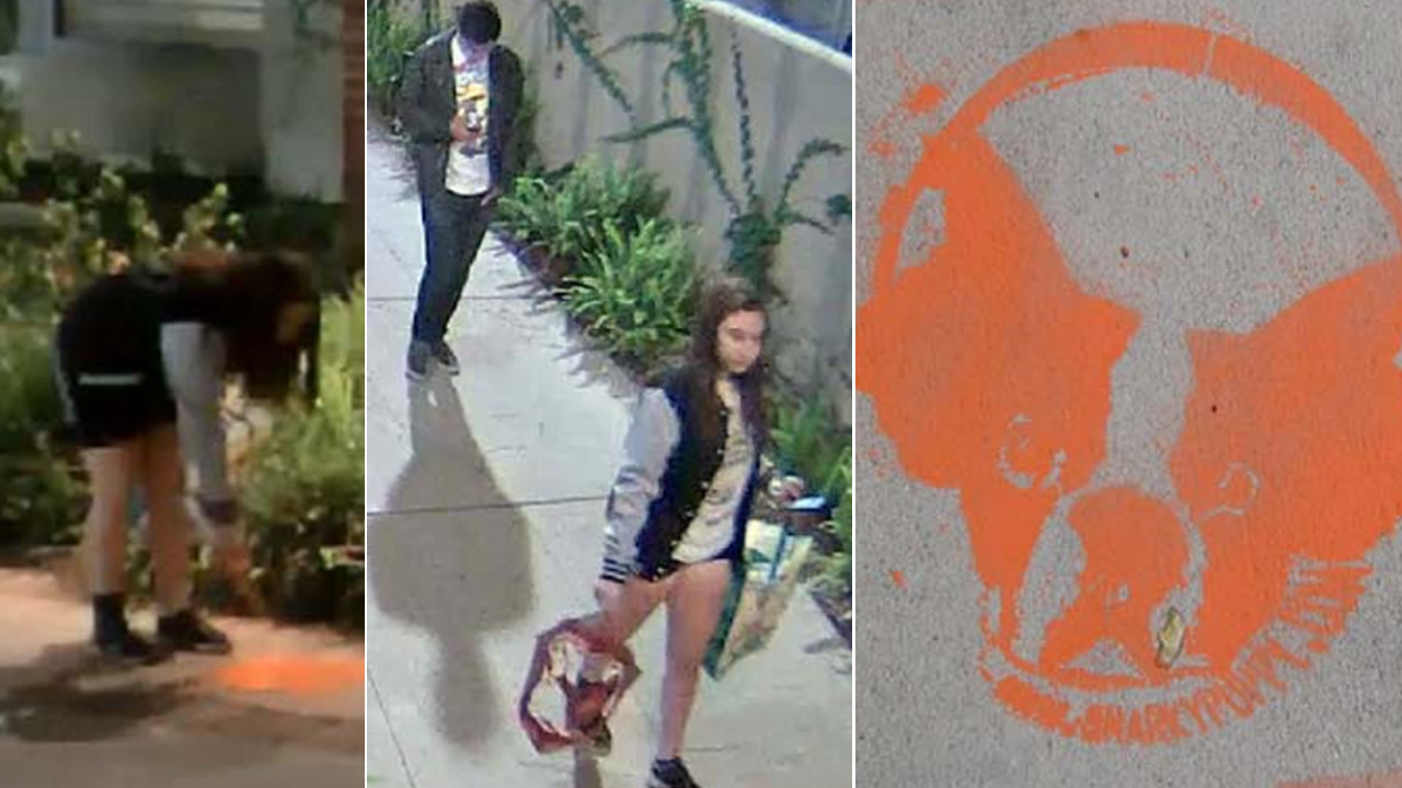 UCLA police are searching for two suspects who allegedly spray-painted 'Snarky Puppy' characters at eight locations on campus on Friday, May 22, 2015.