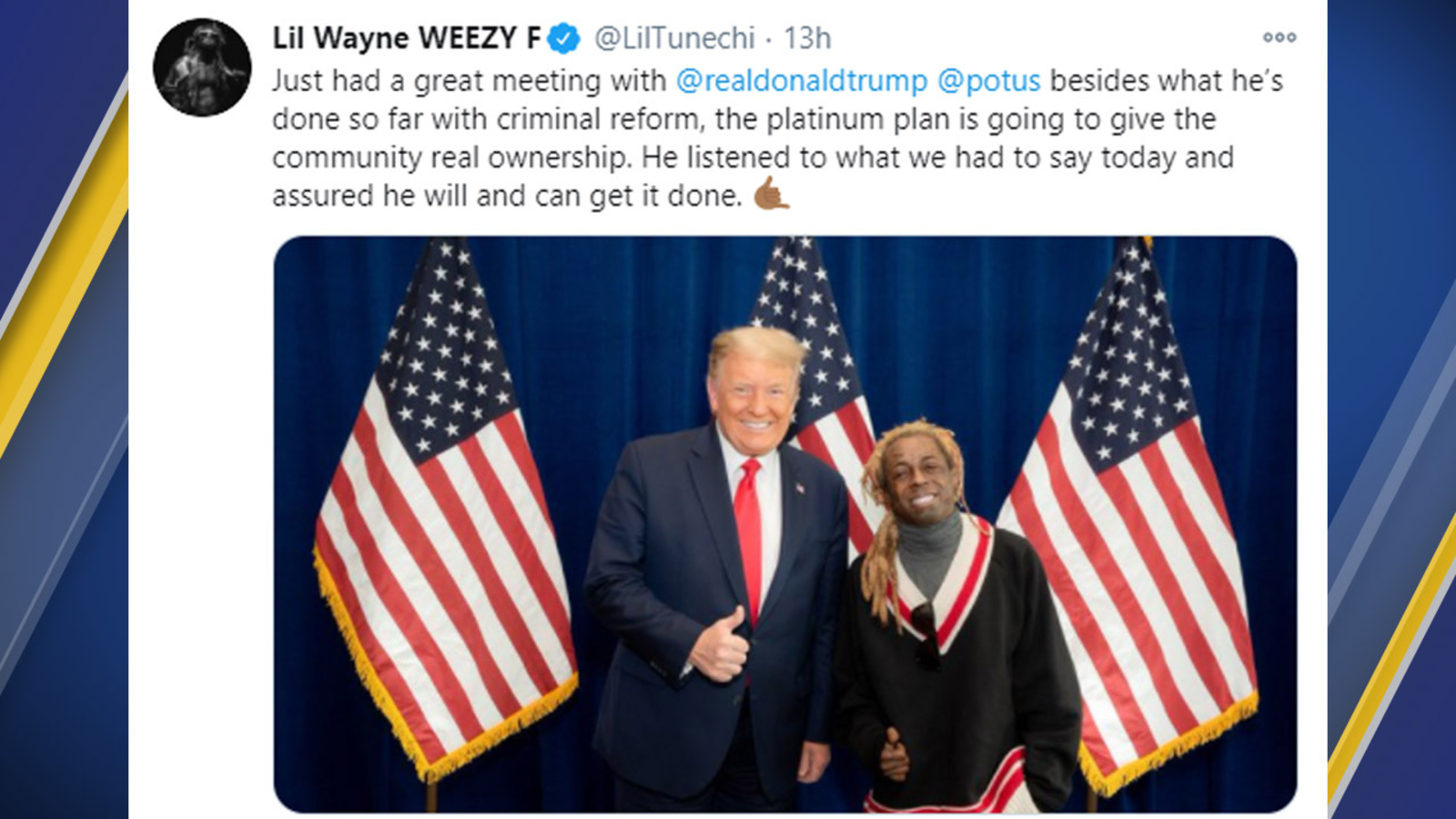 Lil Wayne Meets With Donald Trump Appears To Endorse Him For 2020 Election Abc7 San Francisco