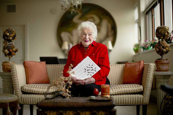 "<div class=""meta image-caption""><div class=""origin-logo origin-image ""><span></span></div><span class=""caption-text"">Crossword constructor Bernice Gordon, born Jan. 11, 1914, the 1st centenarian to have a grid printed in the NYTimes, published not long after the centennial of the puzzle itself. (AP Photo/ Matt Rourke)</span></div>"