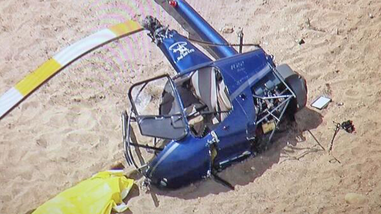 A helicopter is seen after it crashed in Santa Paula on Friday, May 23, 2014.