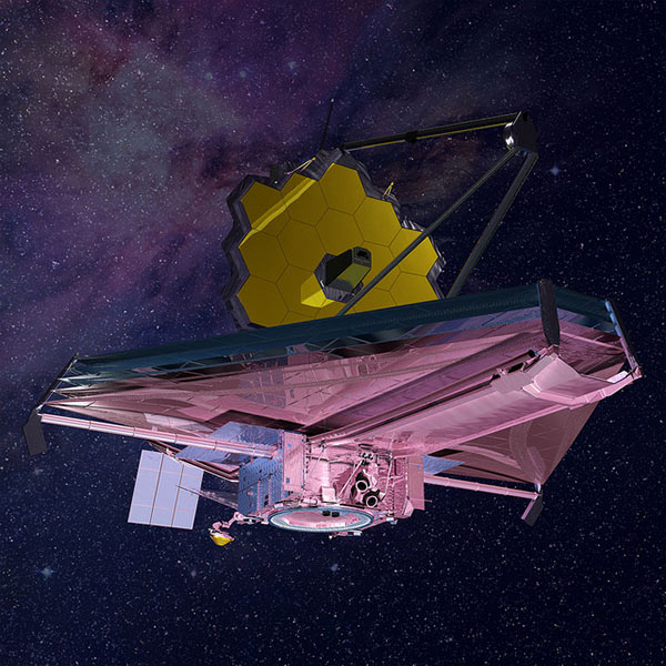 This rendering of the James Webb Space Telescope is current to 2015. Upon request we can provide a high-resolution image without a background.