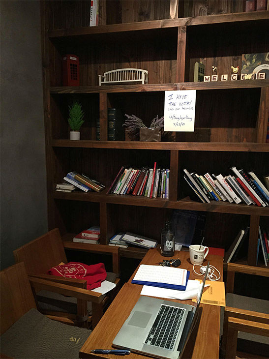 "<div class=""meta image-caption""><div class=""origin-logo origin-image none""><span>none</span></div><span class=""caption-text"">Dang posted this sign on the bookshelf to let the mystery note writer know he came back. (Courtesy of Jason Dang)</span></div>"