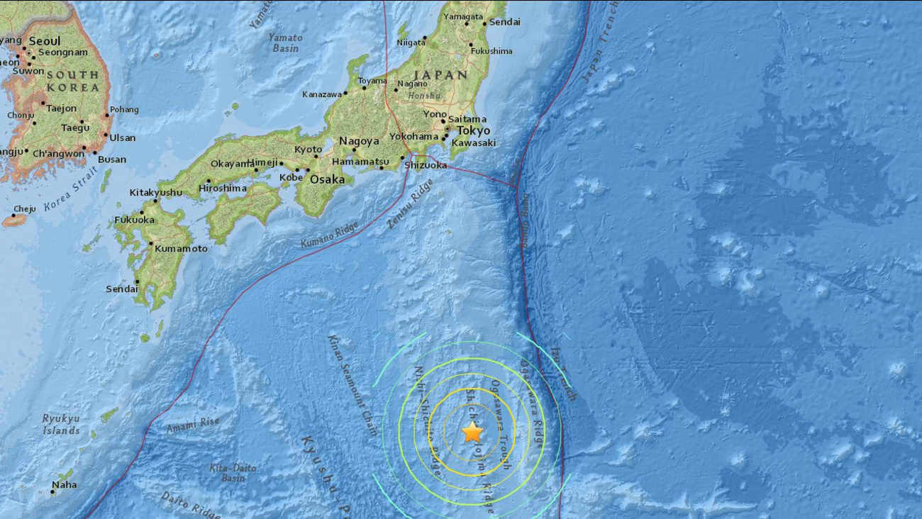 An earthquake with a preliminary magnitude of 7.8 struck 117 miles of west, northwest of Chichi-shima, Japan on Saturday, May 30, 2015.