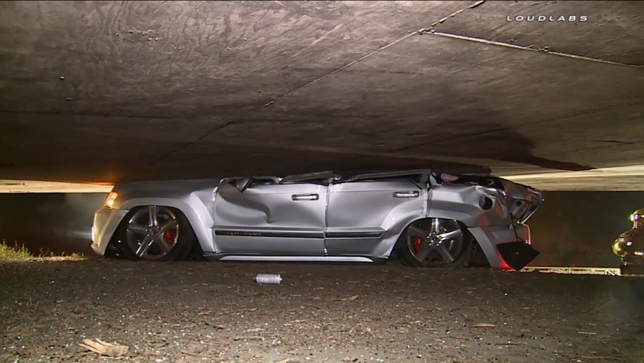 A man was killed when his vehicle became wedged underneath the transition ramp from the northbound 5 Freeway to the eastbound 10 Freeway in Boyle Heights on Saturday, May 30, 2015.