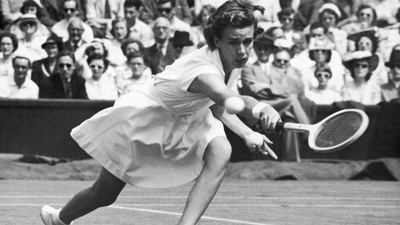 Miss Doris Hart, of Miami, Florida, plays in the singles match at Wimbledon, London, United Kingdom on June 30, 1951.