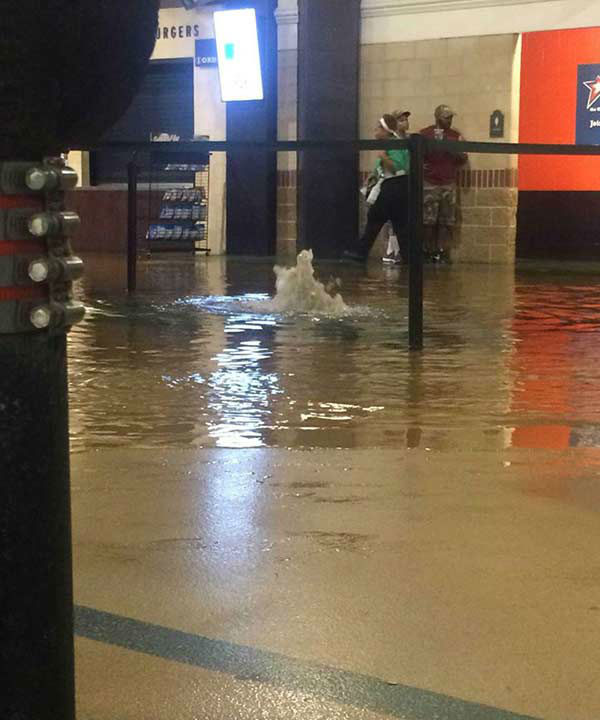 """<div class=""""meta image-caption""""><div class=""""origin-logo origin-image none""""><span>none</span></div><span class=""""caption-text"""">The heavy rain made its way into Minute Maid Park Saturday, May 30, 2015. If you have photos, email them to news@abc13.com or upload them using #abc13eyewitness (iWitness Photo)</span></div>"""