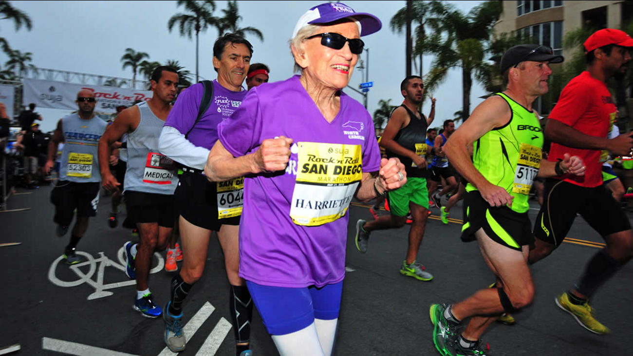 In this photo provided by Competitor Group, Harriette Thompson starts the Suja Rock 'n' Roll Marathon in San Diego on Sunday, May 31, 2015. (Paul Nestor/Competitor Group via AP)