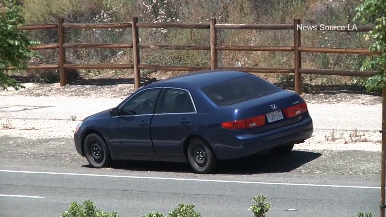 A man's body was found in the trunk of this blue Honda Accord in Canyon Country on Sunday, May 31, 2015.