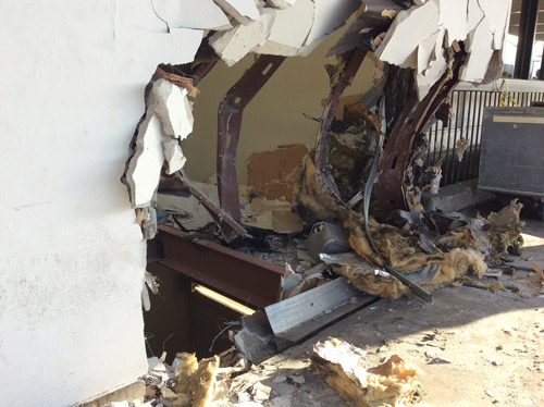 "<div class=""meta image-caption""><div class=""origin-logo origin-image kabc""><span>KABC</span></div><span class=""caption-text"">Damage to a stucco wall at Los Angeles International Airport is shown following a car crash on Sunday, May 31, 2015. (LAFD Photo 