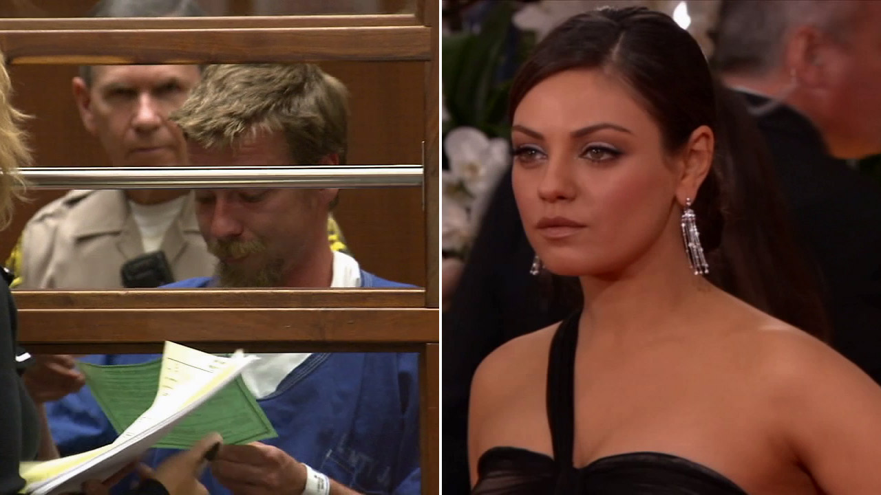 Stuart Lynn Dunn, left, is shown alongside a photo of Mila Kunis, an actress he was accused of stalking in 2012.