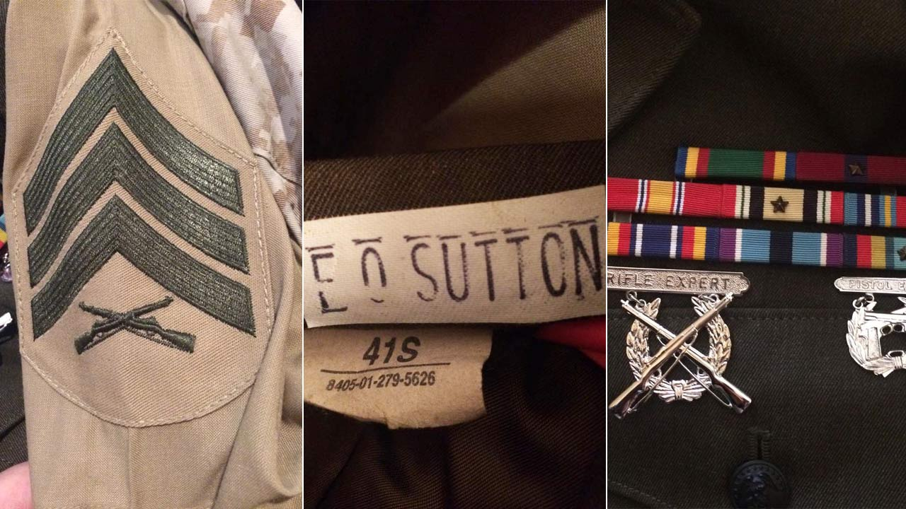 A woman is hoping to find the owner of a duffel bag containing personal U.S. Marine Corps uniforms found along Highway 395 in Adelanto.