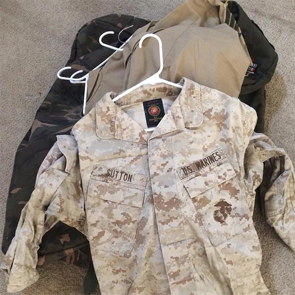 A U.S. Marines uniform was found in a duffel bag on the side of Highway 395 in Adelanto.