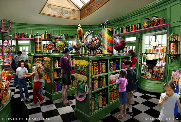 """<div class=""""meta image-caption""""><div class=""""origin-logo origin-image none""""><span>none</span></div><span class=""""caption-text"""">An artist rendering shows the Honeydukes store at 'The Wizarding World of Harry Potter,' slated to open in spring 2016 at Universal Studios Hollywood. (Universal Studios Hollywood)</span></div>"""