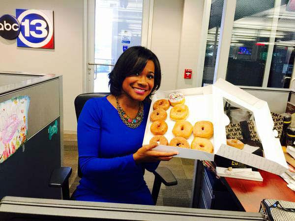 "<div class=""meta image-caption""><div class=""origin-logo origin-image none""><span>none</span></div><span class=""caption-text"">Samica Knight getting ready for National Donut Day! (KTRK Photo)</span></div>"