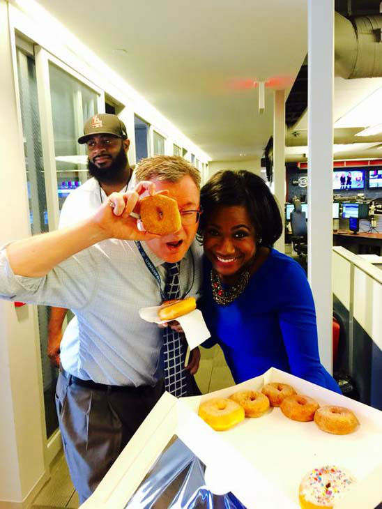 """<div class=""""meta image-caption""""><div class=""""origin-logo origin-image none""""><span>none</span></div><span class=""""caption-text"""">Samica Knight and producer Trent getting ready for National Donut Day! (KTRK Photo)</span></div>"""