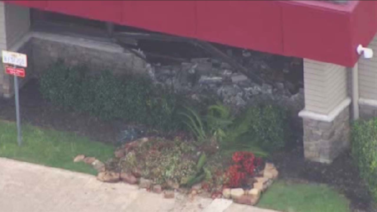 A car crashed into a Denny's restaurant in northwest Houston on Airline Drive at North Freeway