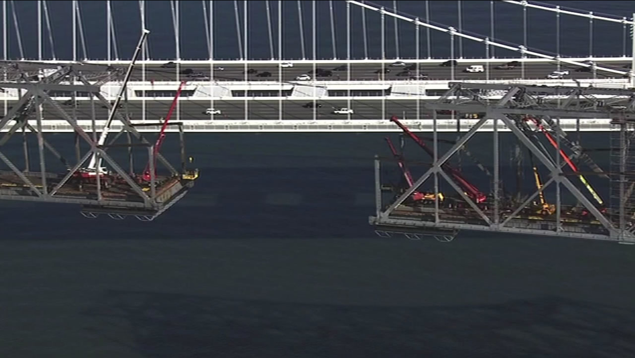 FILE -- The old and new eastern spans of the Bay Bridge.