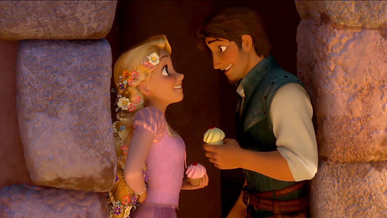 This photo provided by Disney shows Rapunzel and Flynn Rider in a scene from the animated film, 'Tangled.'