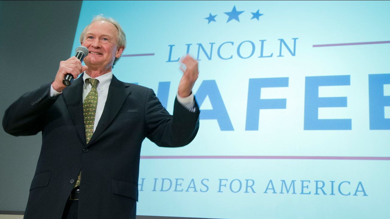 Former Rhode Island Gov. Lincoln Chafee, announces his candidacy for the Democratic presidential nomination during a speech at George Mason University in Arlington, Va., Wednesday, June 3, 2015.