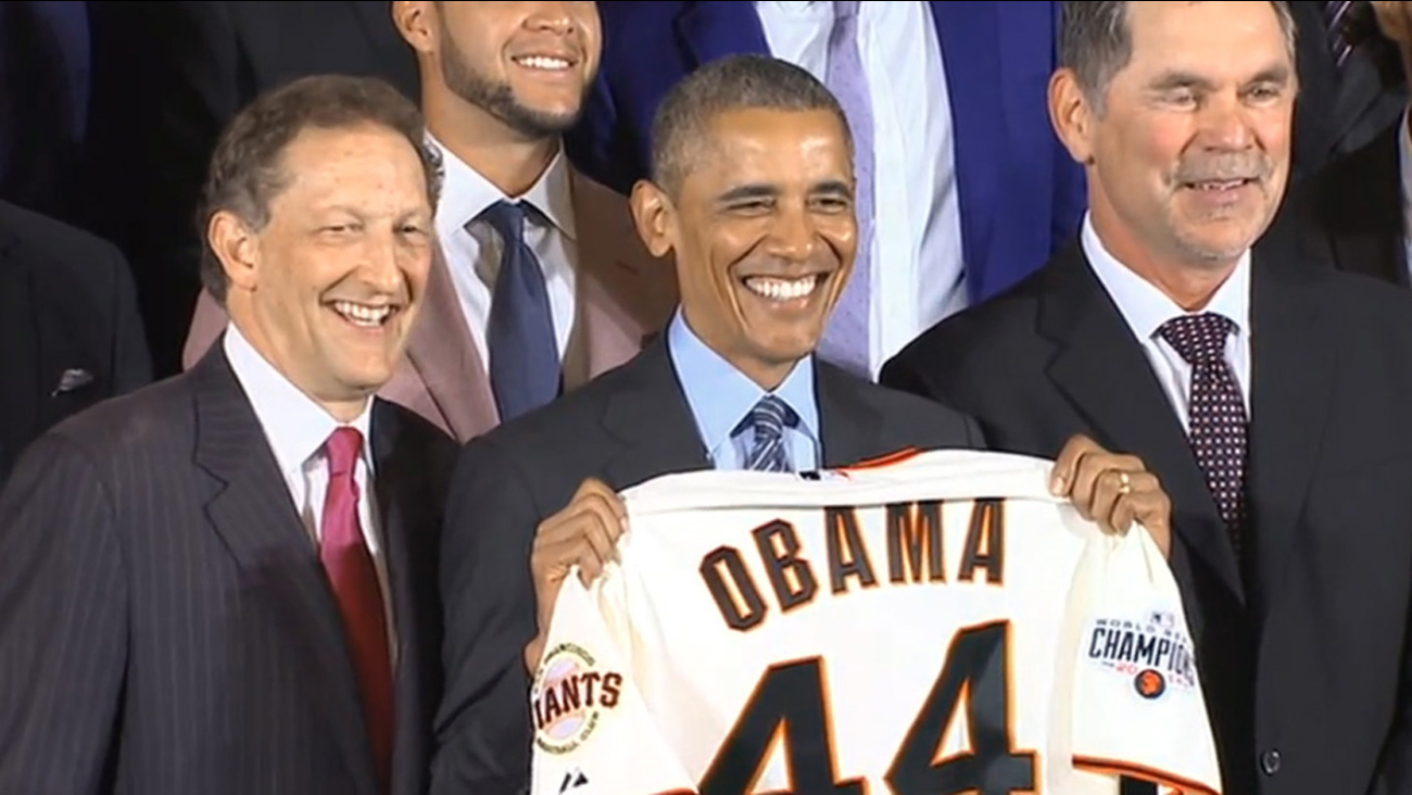 President Obama received a San Francisco Giants jersey when he honored them at the White House, Thursday, June 4, 2015.