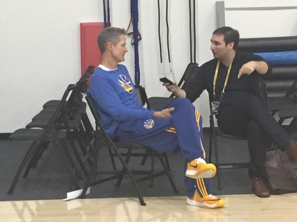 "<div class=""meta image-caption""><div class=""origin-logo origin-image none""><span>none</span></div><span class=""caption-text"">Warriors coach Steve Kerr is looking confident and relaxed ahead of Thursday's Game 1 of the NBA Playoff Finals against the Cavaliers, June 4, 2015. (KGO-TV)</span></div>"